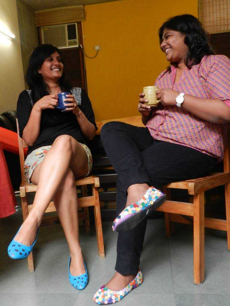 coffee, conversation and the fun footwear!!