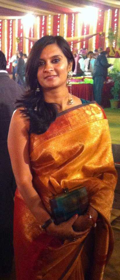 My cousin's wedding Silk Saree: Vintage Hand Painted Clutch: Anusha Lalwani