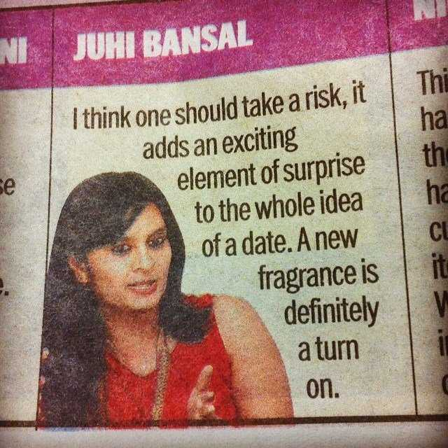 "Juhi giving ""expert"" tips on V-day in Ahmedabad Mirror"