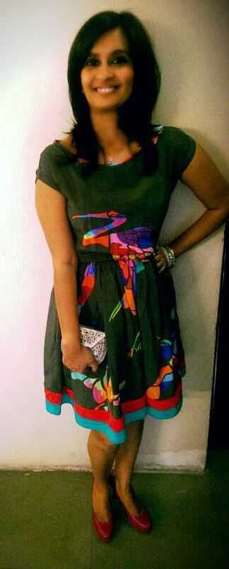 Dress- Bird Print by Quirk Box Bangle Stack- Forever 21 Silver Minaudiere- Fab India Hot Magenta Stillettos- Charles & Keith