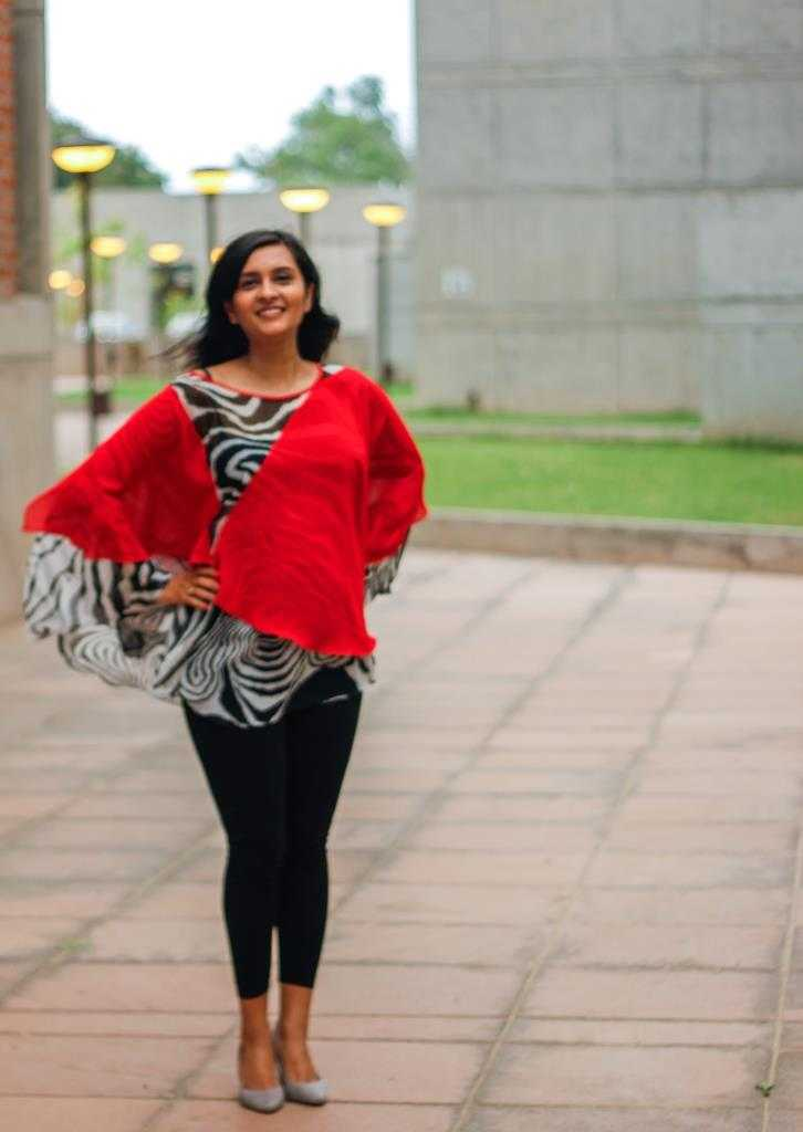 Red & Zebra Print Poncho- Fabric Cook by House of Marigold Black Tights- Old Navy Pumps- H & M