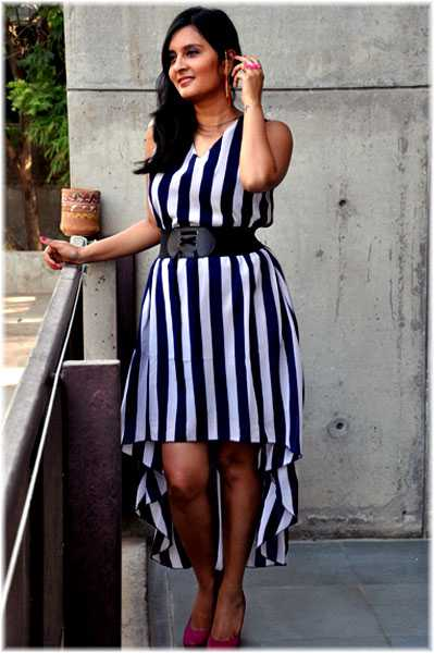 the high-low striped dress from Young Trukk Ear cuff & ring: Young Trukk Pink Pumps: Charles & Keith