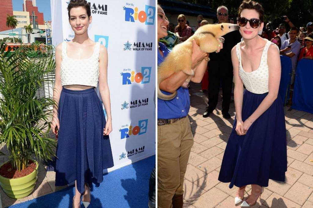 Anne Hathaway sporting a casual crop top look