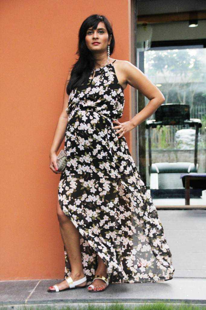 Dress: Forever 21 (Buy) Ear Cuff: Urban Turban Metal Minaudiere: Fab India Footwear: Charles & Keith