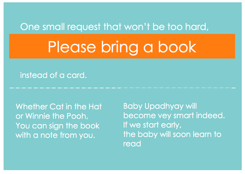 book invite - Planning the Upadhyay Baby Shower-Part 1