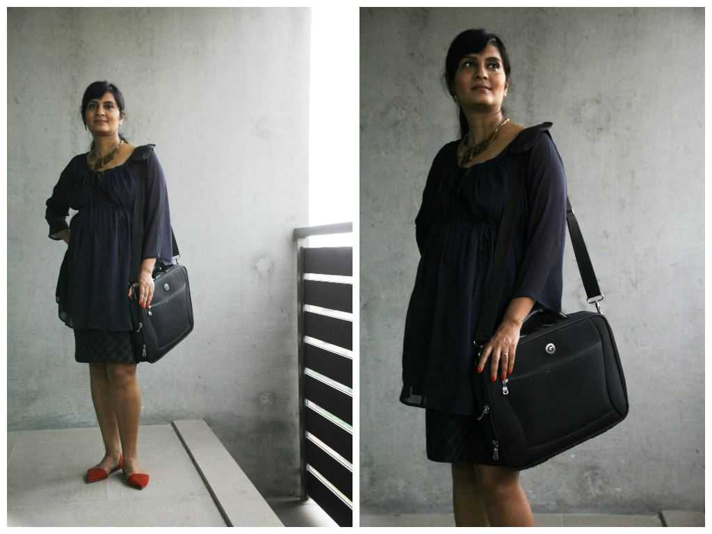 Blouse: Nine Maternity Wear Skirt: Motherhood Maternity Necklace: Urban Turban Laptop Bag: Giordano Footwear: ZARA