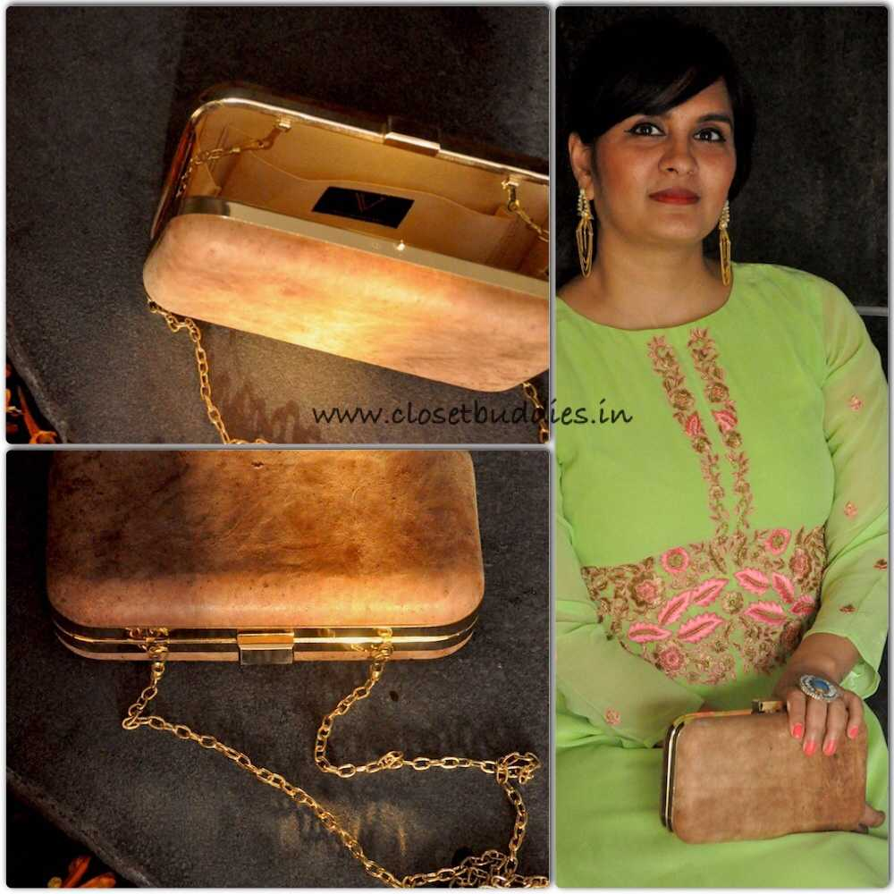The tea-stained leather clutch by Vriksh Verma