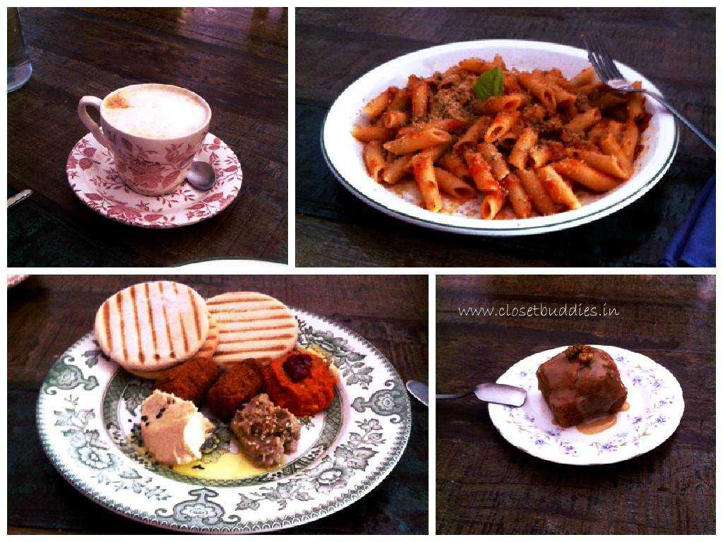 Clockwise from top left: Soy Cappuccino, Penne Arabiatta, Spiced Carrot Cake, Falafel Platter