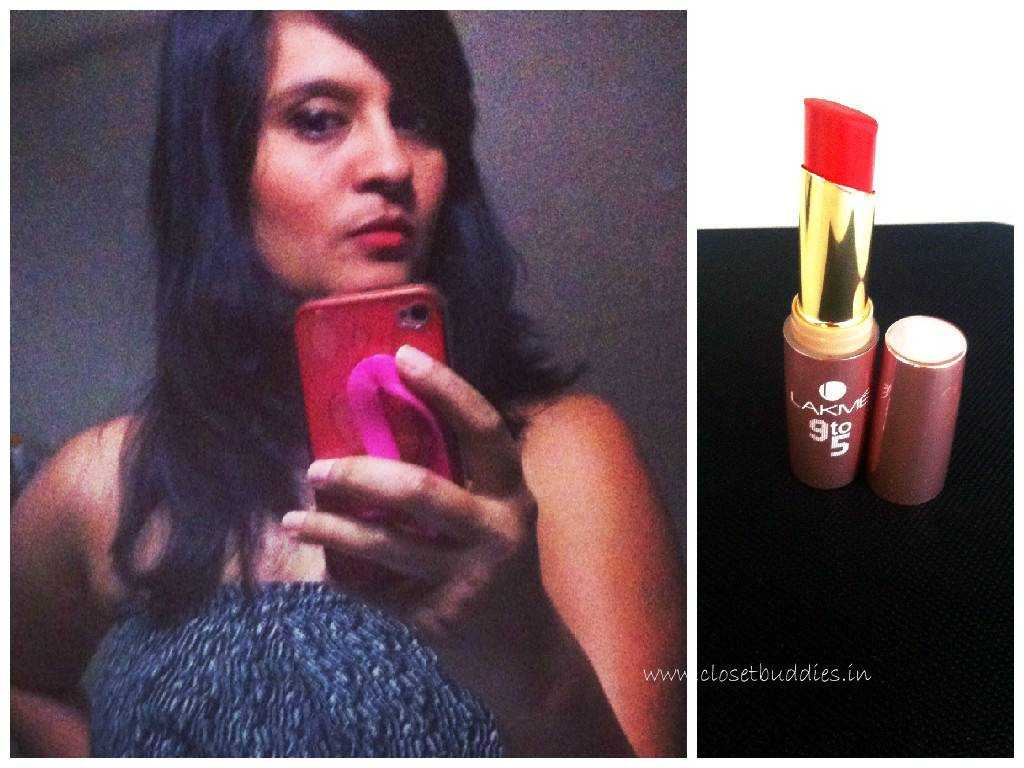 Selfie addict that I am :). My lipstick is Lakme 9to5 shade Red Coat