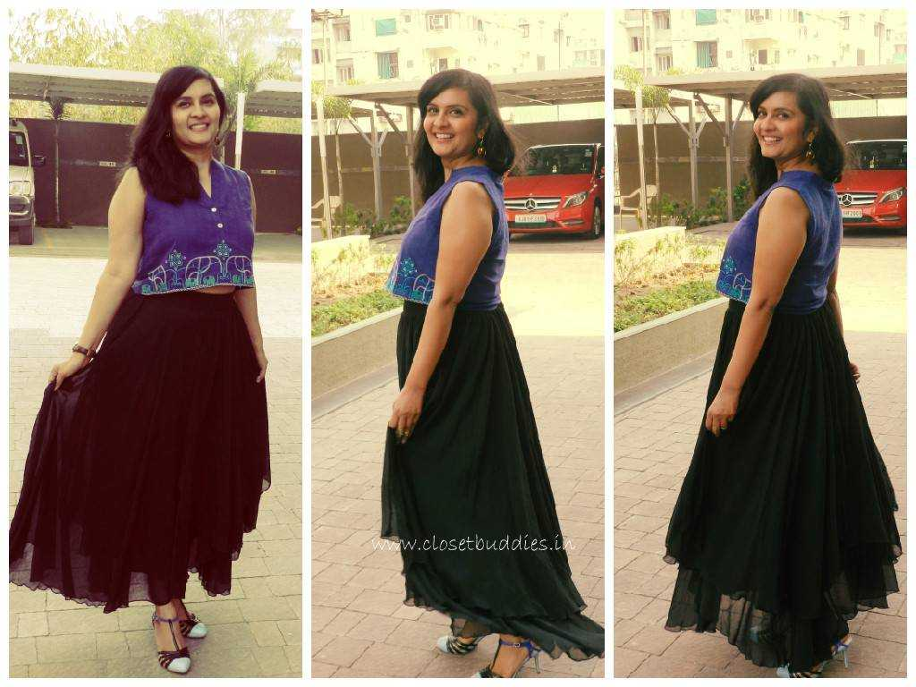 My Happy Twirl :) Skirt: Limeroad Crop Top: Global Desi