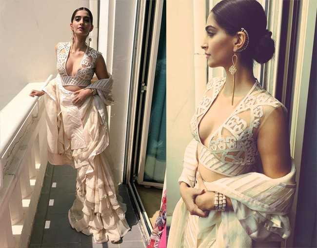 Sonam AJSK Saree - Cannes 2015 Red Carpet Round up- Bollywood Special