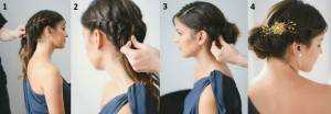 Step-wise chignon.